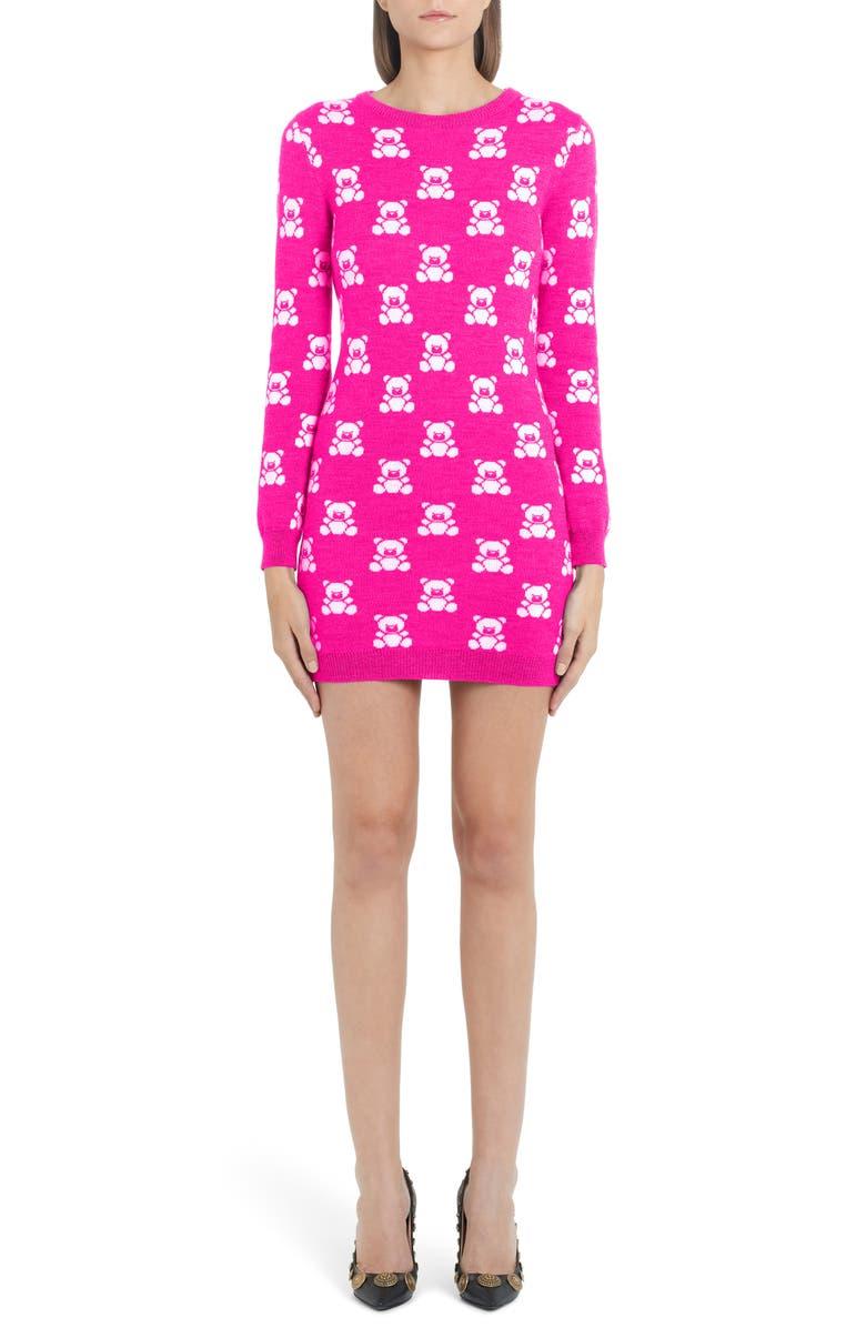 MOSCHINO Checkerboard Bear Long Sleeve Wool Sweater Dress, Main, color, FUCHSIA