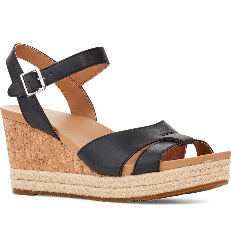 UGG<SUP>®</SUP> Cloverdale Wedge Sandal, Main, color, BLACK LEATHER