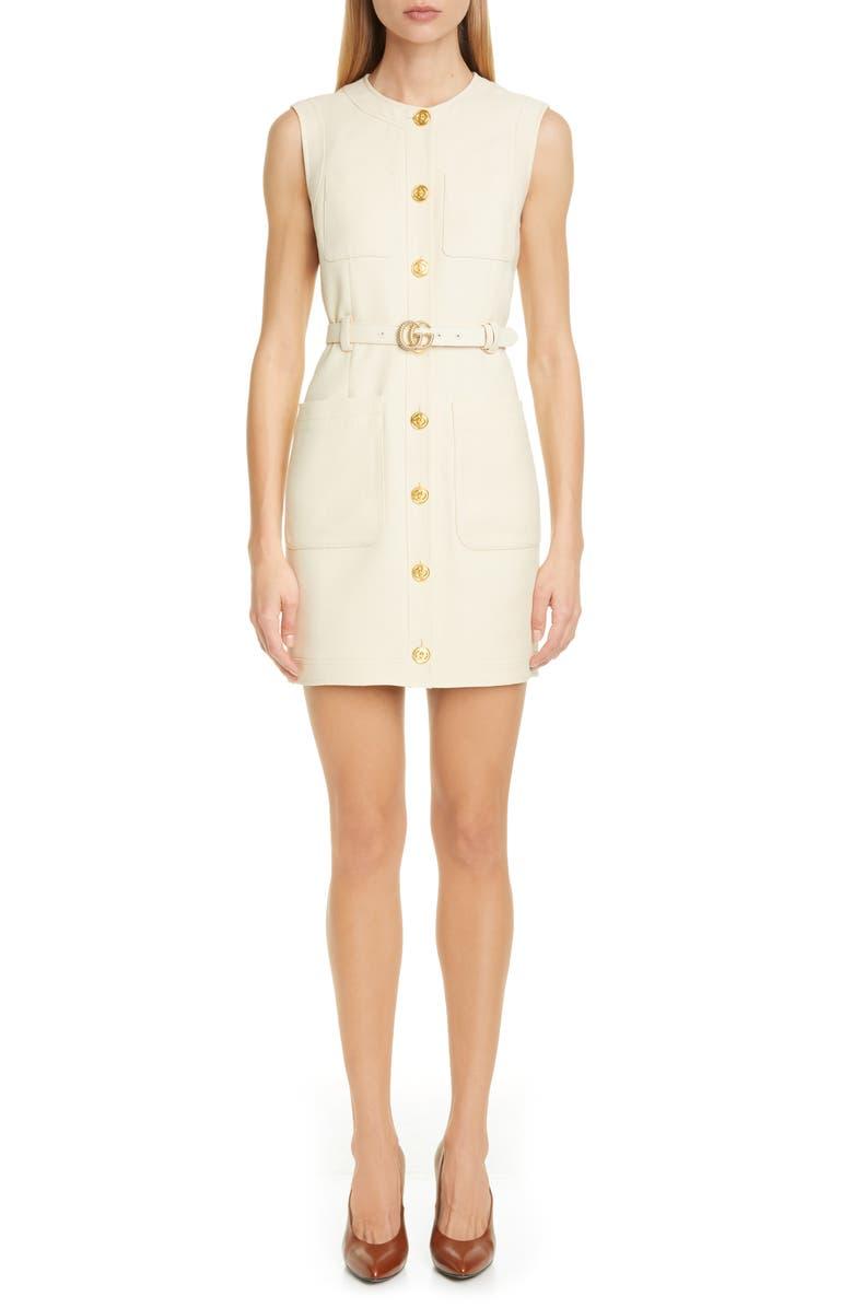 GUCCI GG Detail Silk & Wool Cady Minidress, Main, color, GARDENIA
