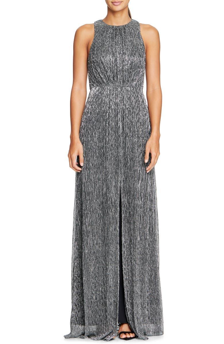HALSTON HERITAGE Sleeveless Metallic Mesh Gown, Main, color, ANTIQUE SILVER