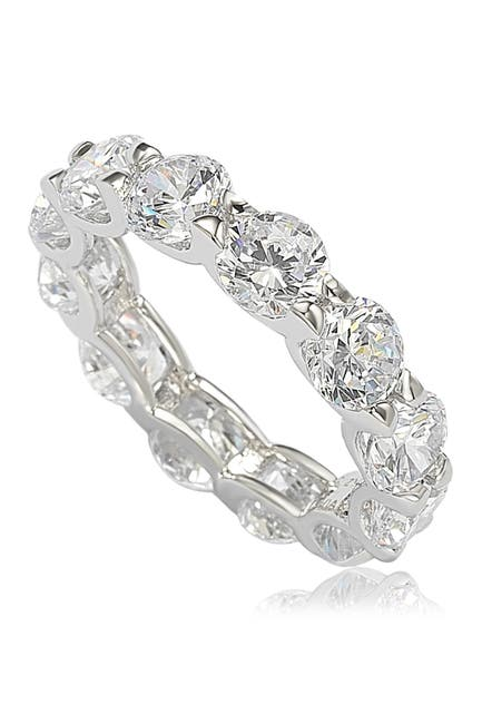 Image of Suzy Levian Sterling Silver CZ Round Cut Eternity Band Ring