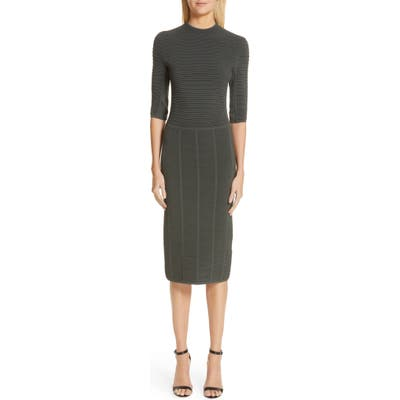 Emporio Armani Ottoman Body-Con Sweater Dress, US / 46 IT - Grey