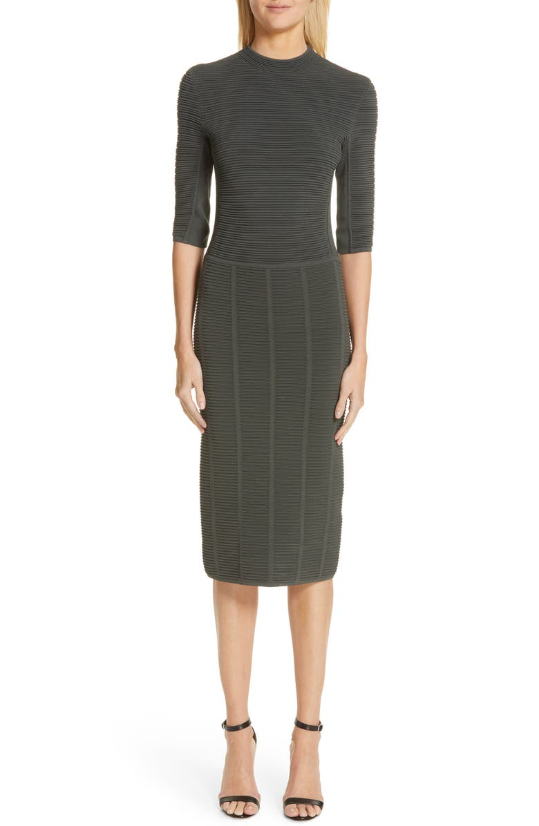 EMPORIO ARMANI Ottoman Body-Con Sweater Dress, Main, color, LODEN