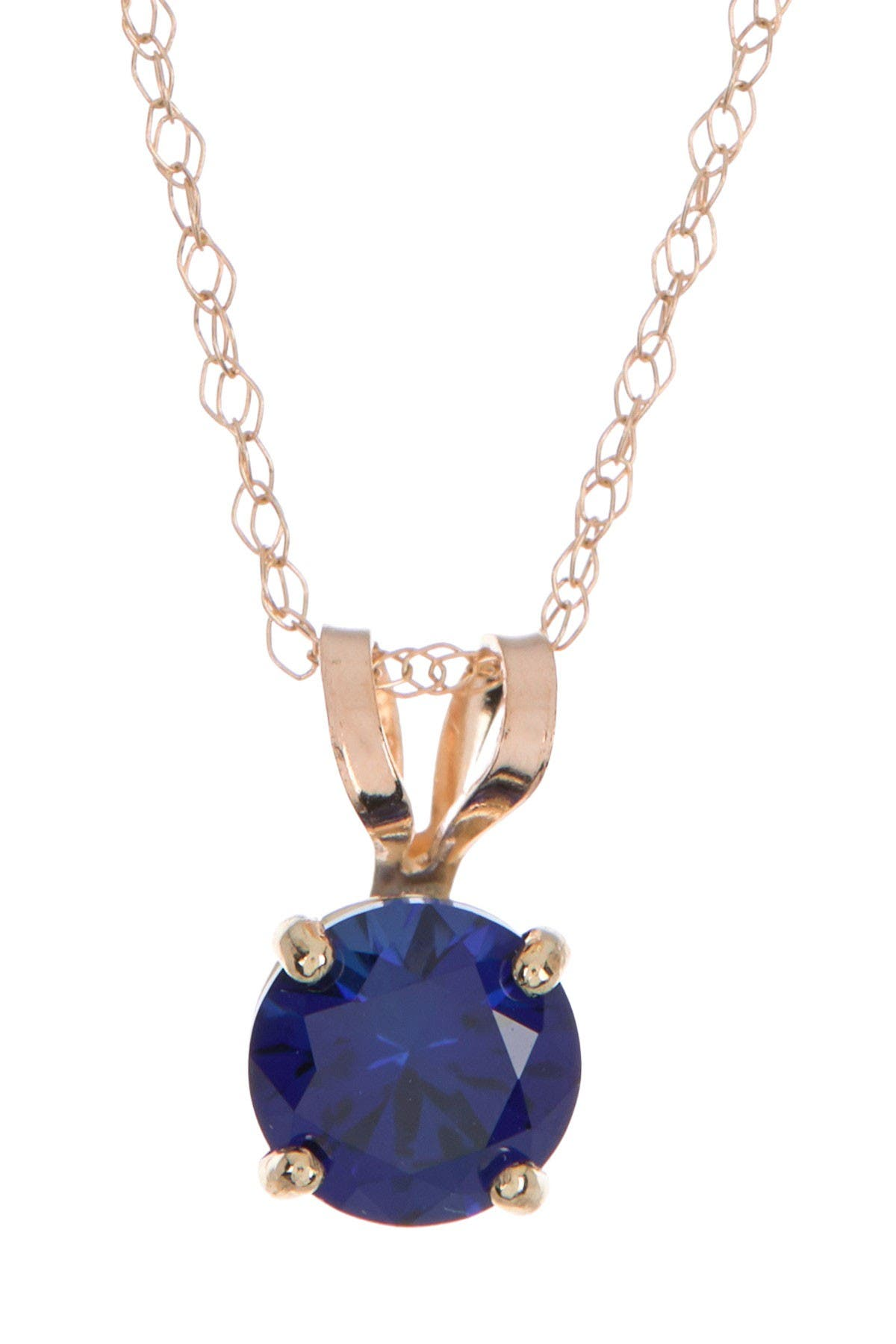 Image of Candela 10K Yellow Gold Created Blue Sapphire Pendant Necklace