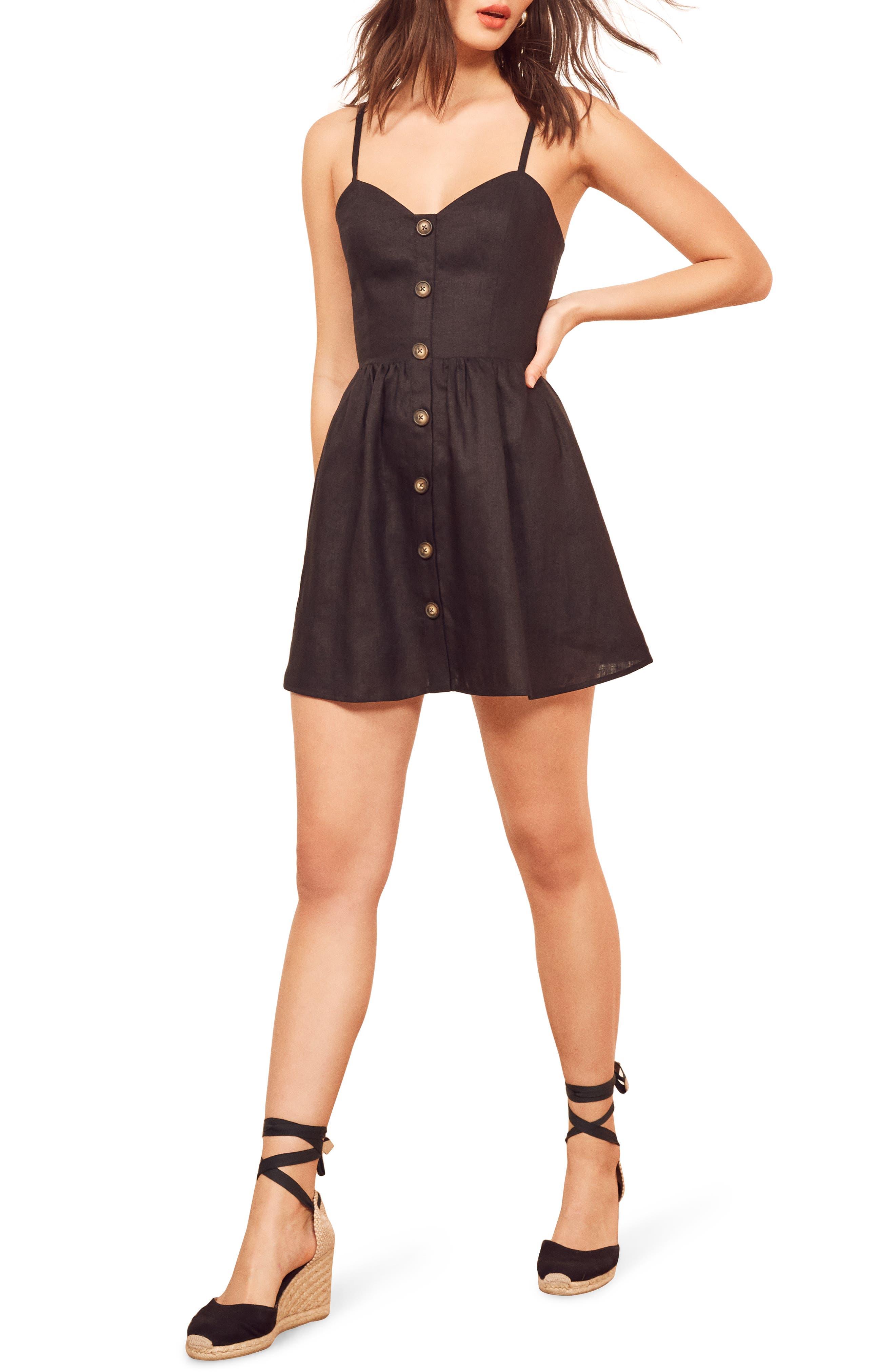 Reformation Velma Sleeveless Minidress, Black