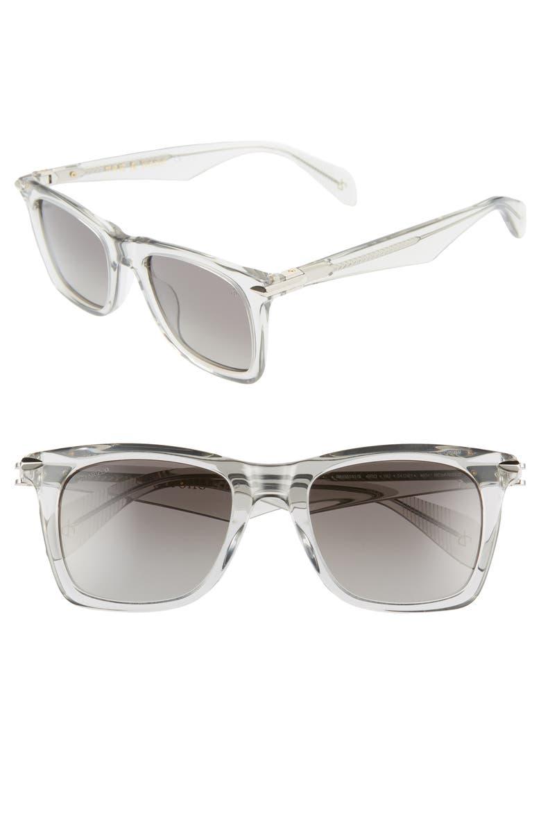 RAG & BONE 51mm Polarized Sunglasses, Main, color, SMOKE SILVER