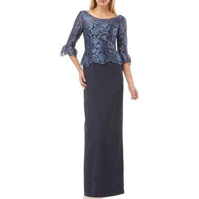 Js Collections Embroidered Mesh Peplum Gown, Blue