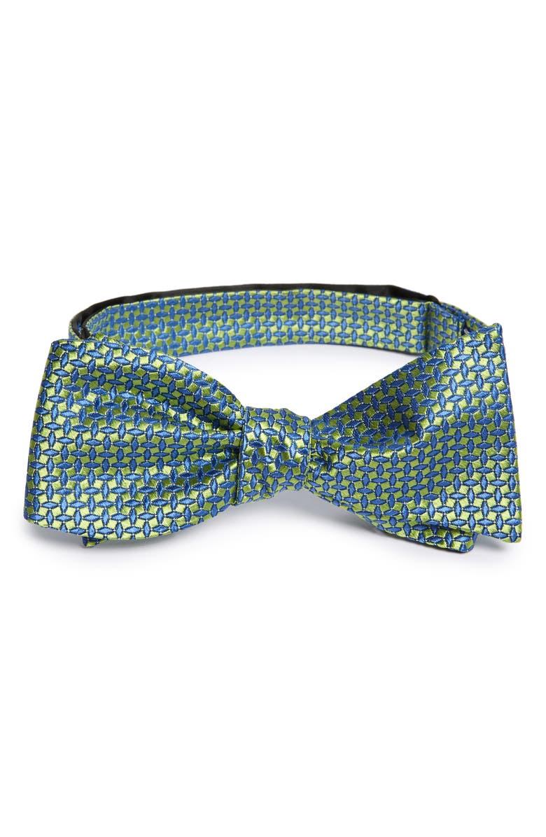 NORDSTROM MEN'S SHOP Clarin Neat Silk Bow Tie, Main, color, GREEN