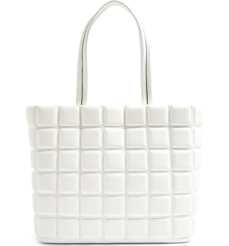 TOPSHOP Riley Quilted Faux Leather Tote, Main, color, WHITE