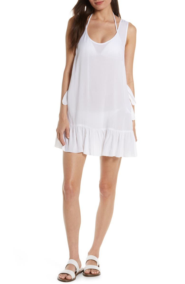 CHELSEA28 Tayla Side Tie Cover-Up Minidress, Main, color, WHITE