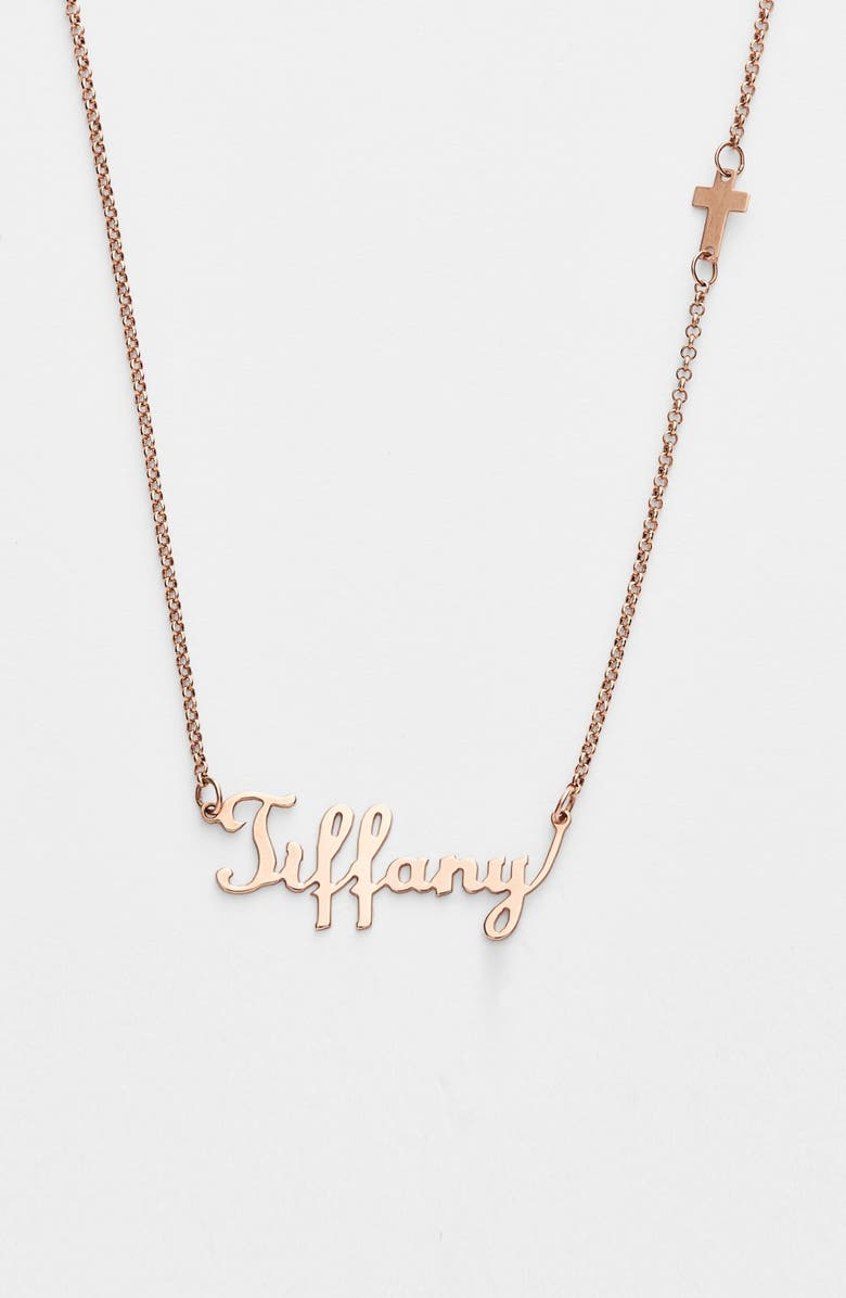 ARGENTO VIVO Personalized Script Name with Cross Necklace, Main, color, ROSE GOLD