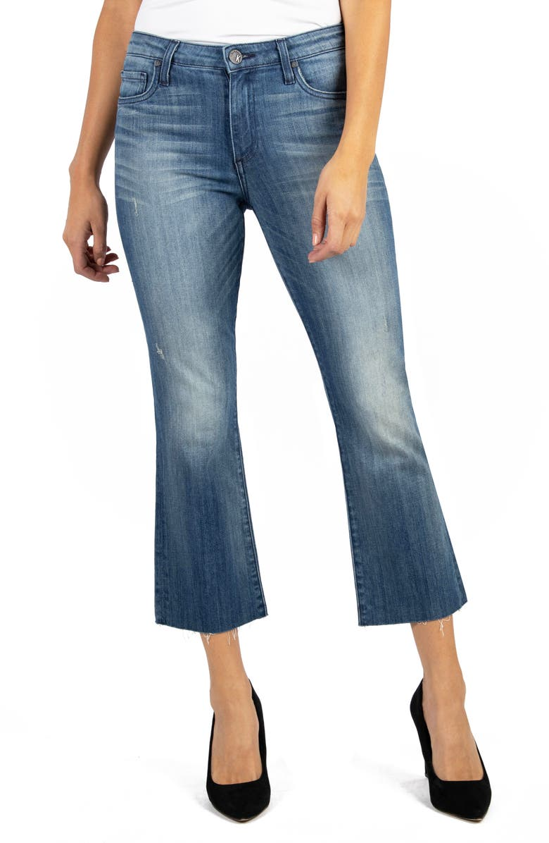 KUT FROM THE KLOTH Kelsey High Waist Raw Hem Kick Flare Jeans, Main, color, INTERFERE