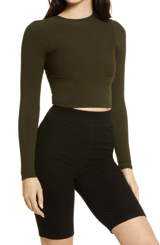 Naked Wardrobe Snatched Bustier Long Sleeve Crop Top In Forest Green