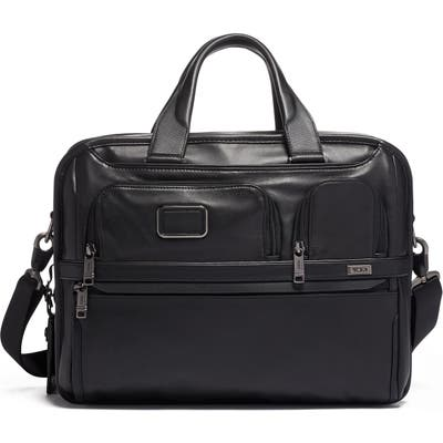 Tumi Alpha 3 Expandable Organizer Leather Laptop Briefcase - Black