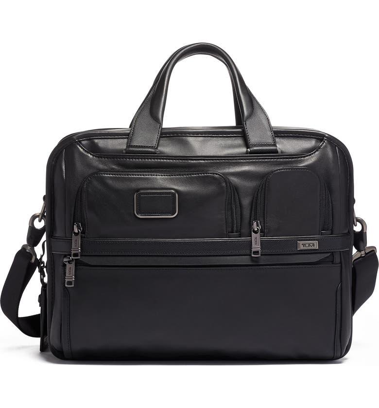 TUMI Alpha 3 Expandable Organizer Leather Laptop Briefcase, Main, color, BLACK