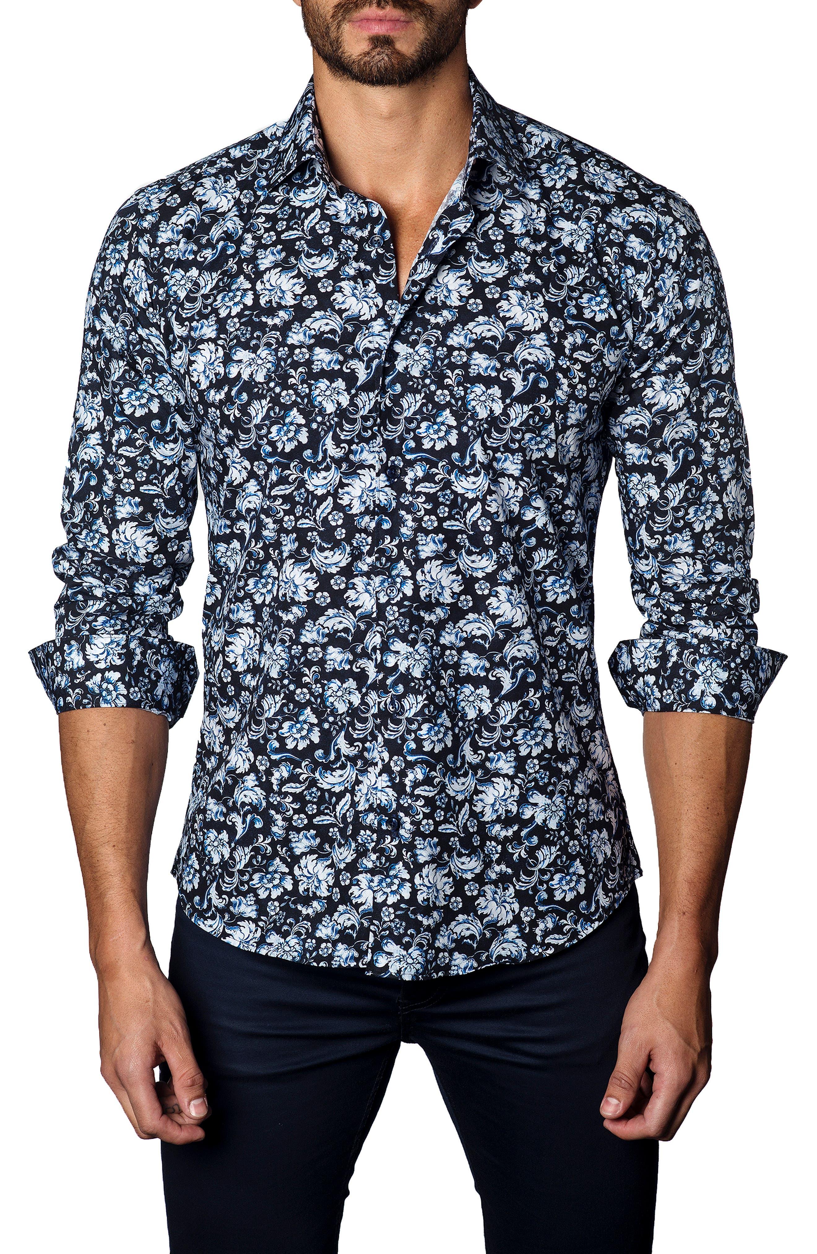 Trim Fit Paisley Button-Up Shirt