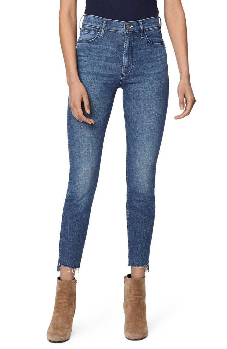 MOTHER The Stunner Frayed Step Hem Skinny Jeans, Main, color, RUNAWAY TRAIN
