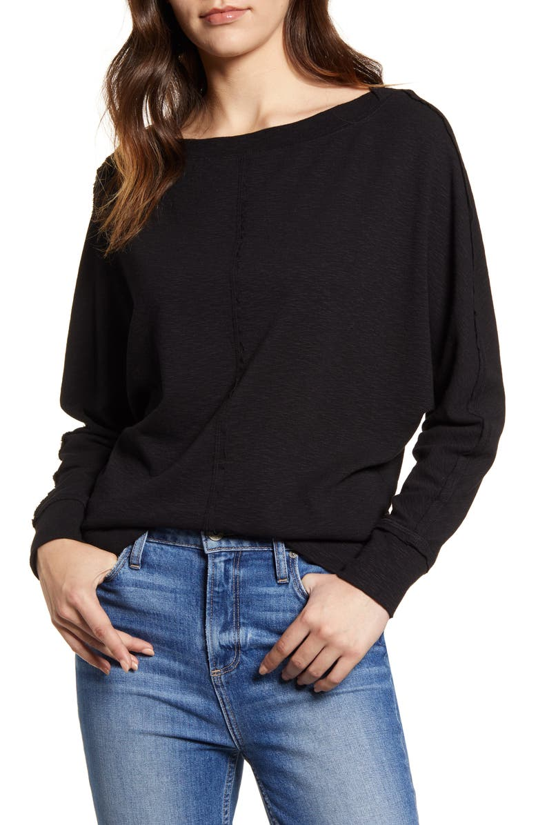 CASLON<SUP>®</SUP> Bateau Neck Exposed Seam Cotton Blend Top, Main, color, BLACK