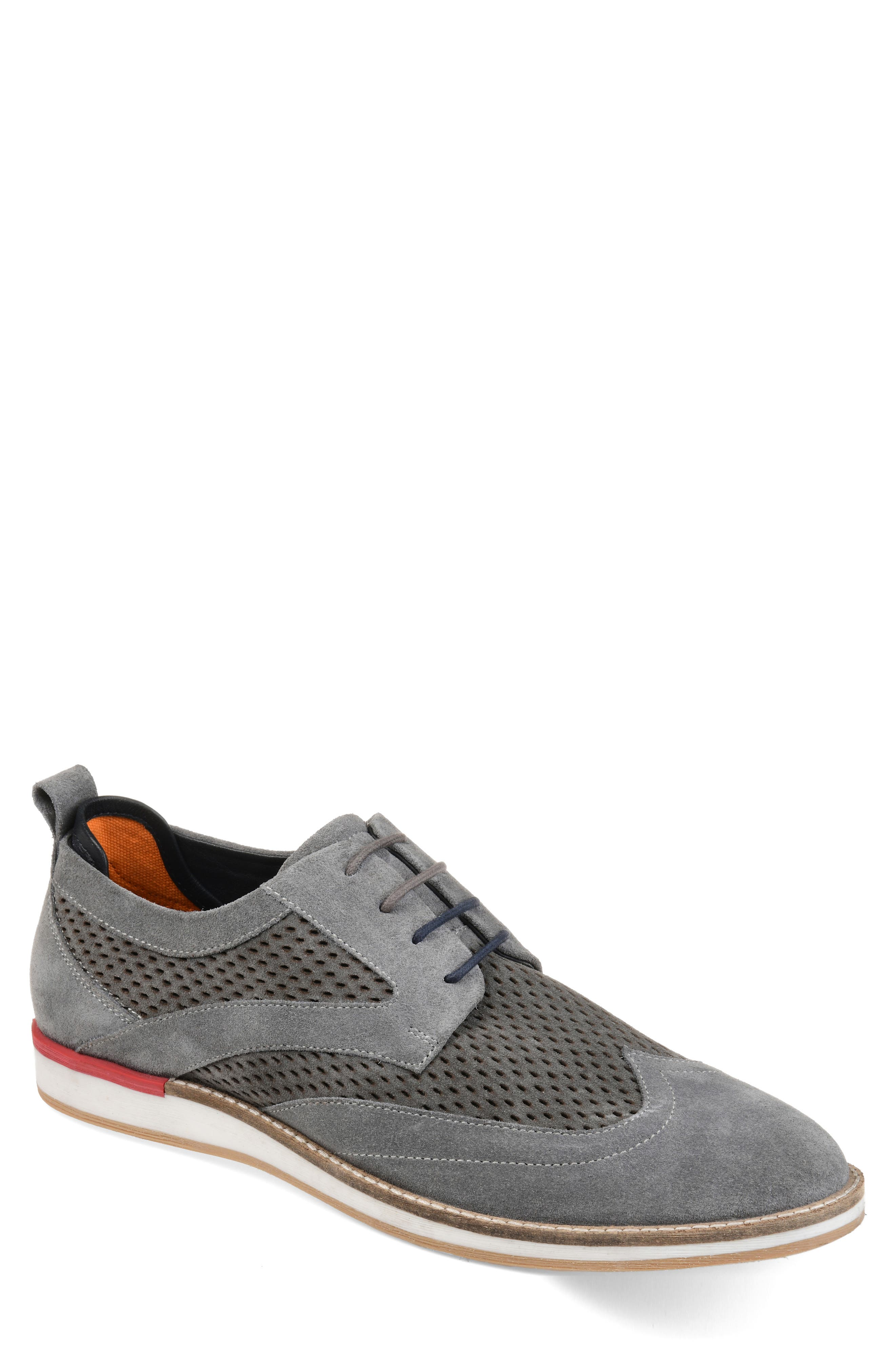 Jett Perforated Wingtip, Main, color, GREY SUEDE