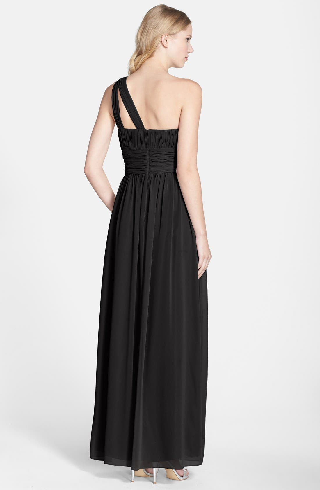 ,                             'Rachel' Ruched One-Shoulder Chiffon Gown,                             Alternate thumbnail 5, color,                             001