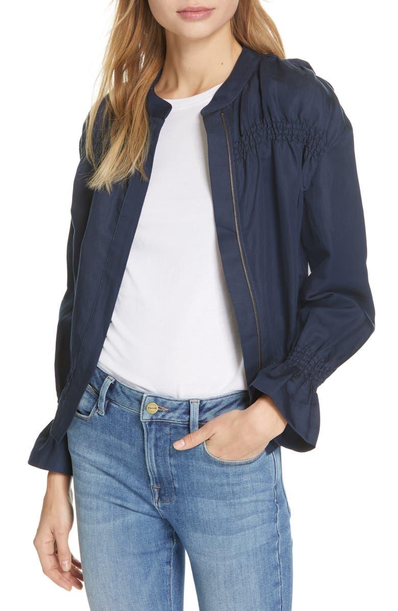 FRAME Smocked Zip Front Jacket, Main, color, 410