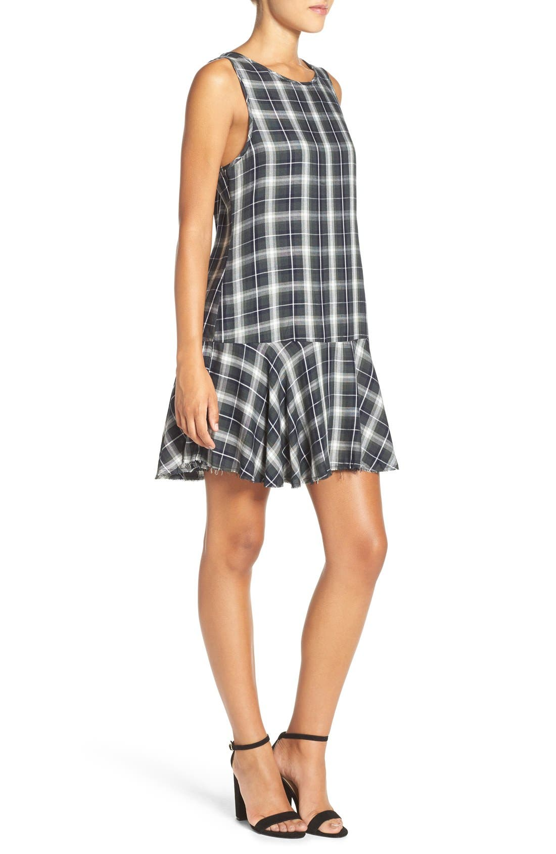 ,                             'Reyes' Plaid Drop Waist Dress,                             Alternate thumbnail 10, color,                             306