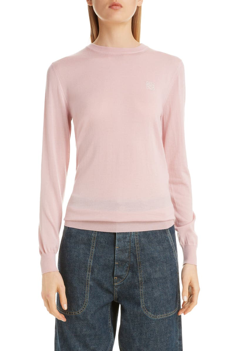 LOEWE Anagram Logo Embroidered Cashmere Sweater, Main, color, BABY PINK