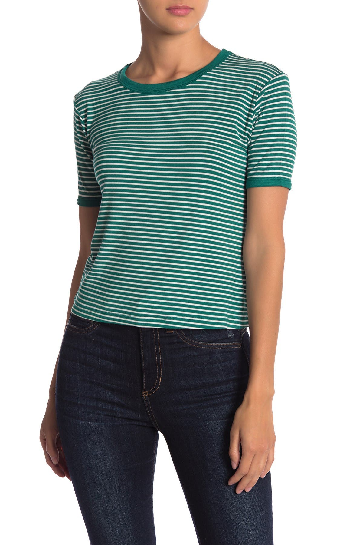Image of LIME BLUE Striped Crew Neck T-Shirt