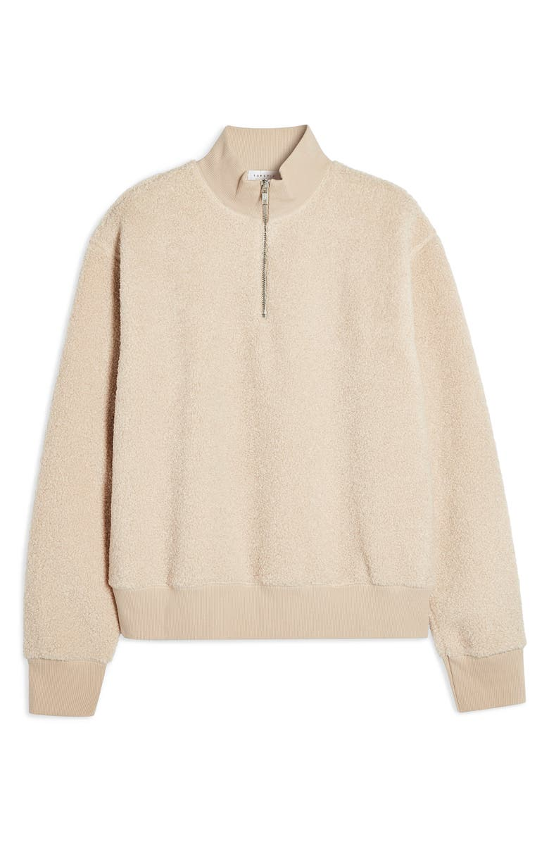 TOPSHOP Half Zip Funnel Neck Sweatshirt, Alternate, color, STONE