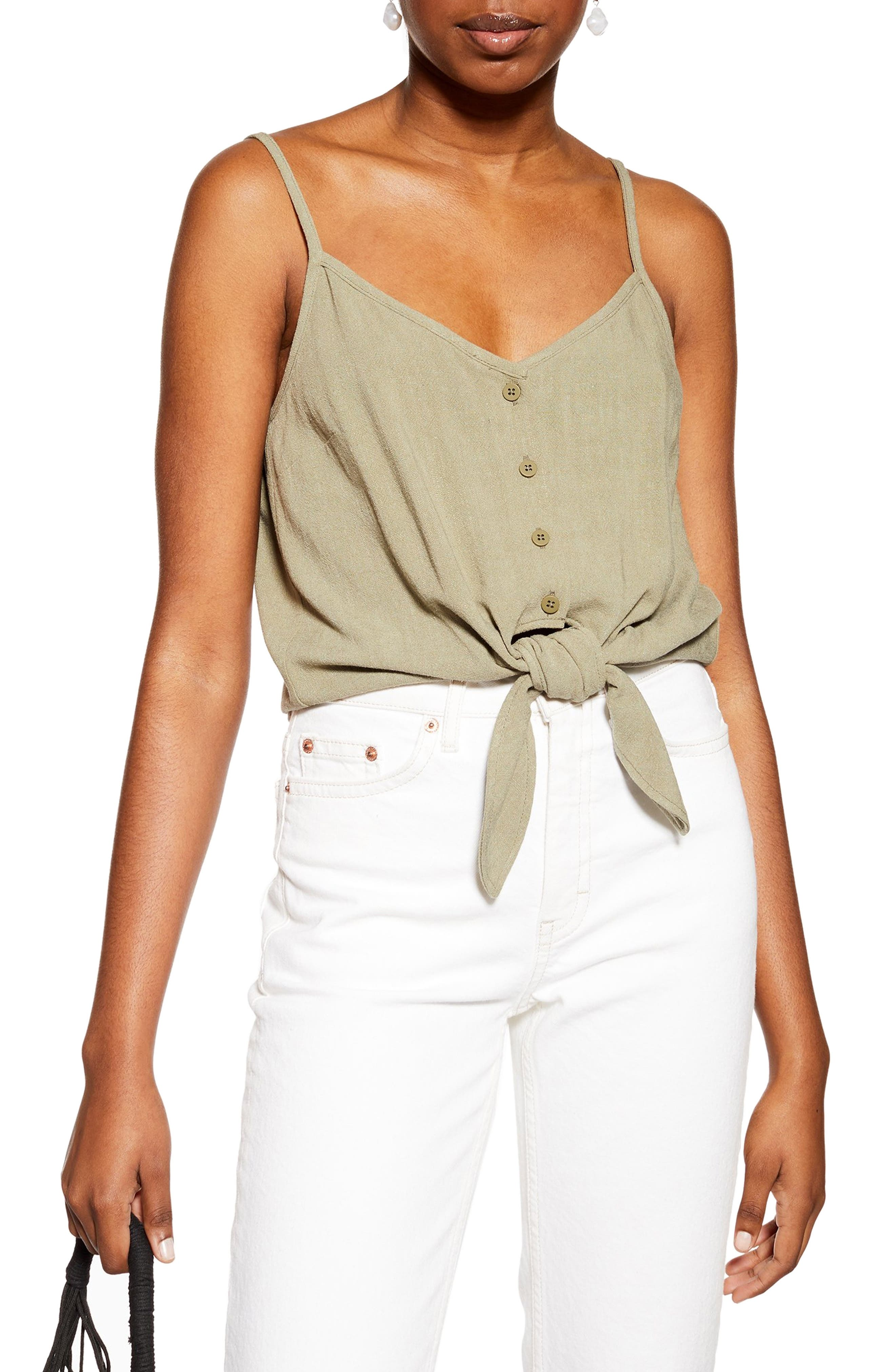 Topshop Polly Tie Front Camisole, US (fits like 2-4) - Green