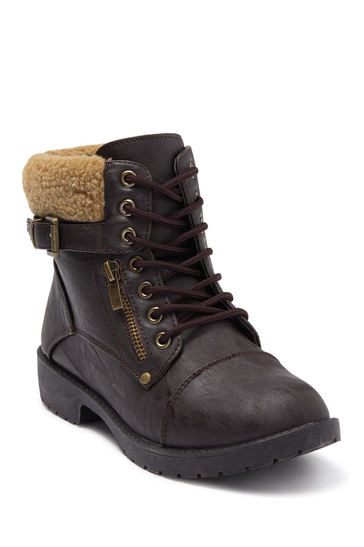 Image of Wanted Combat Boot With Faux Shearling Trim