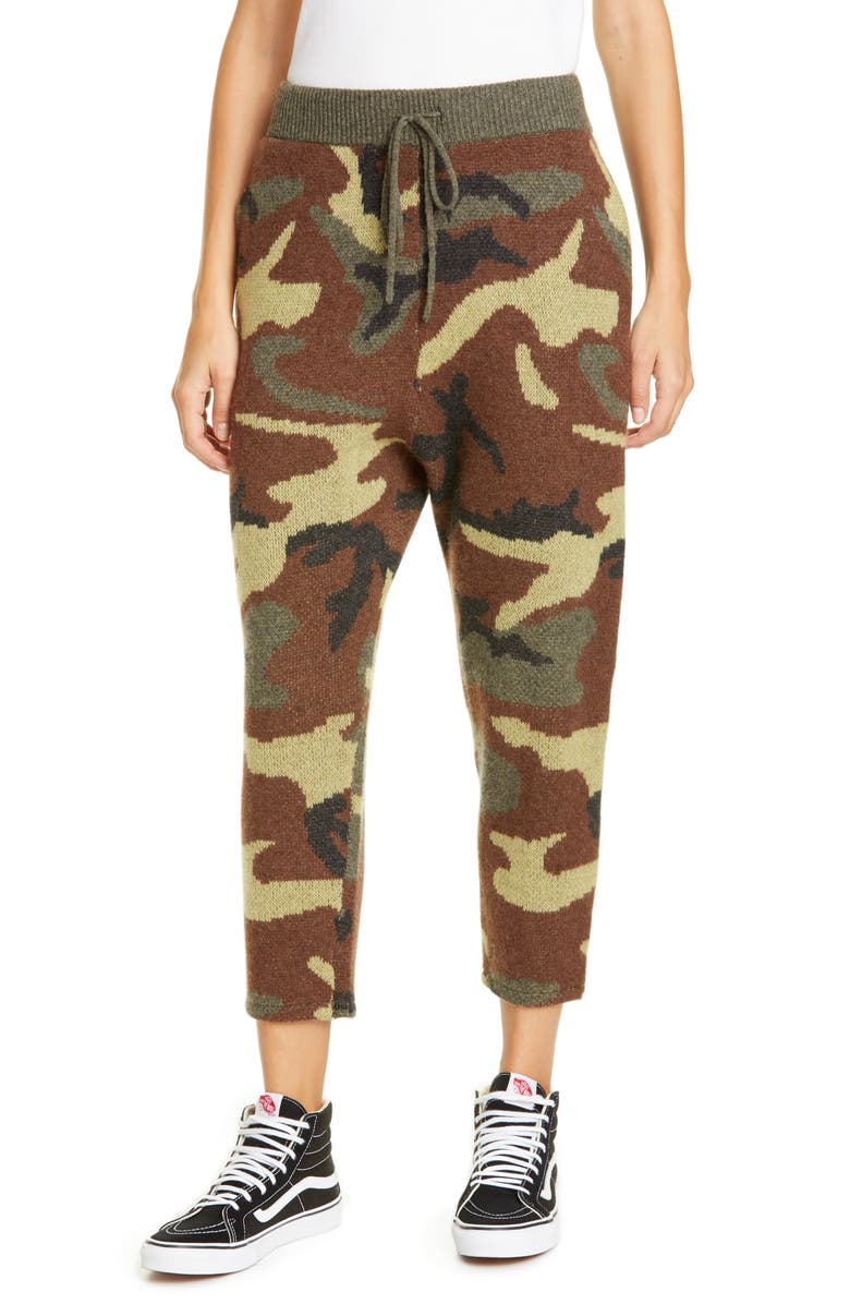 R13 Camo Jacquard Cashmere Sweater Pants, Main, color, CAMO