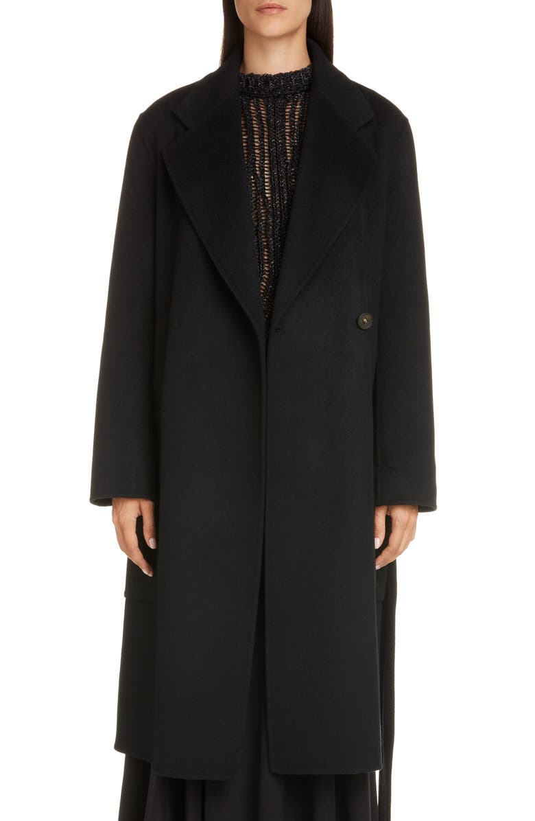 ACNE STUDIOS Carice Double Breasted Coat, Main, color, BLACK