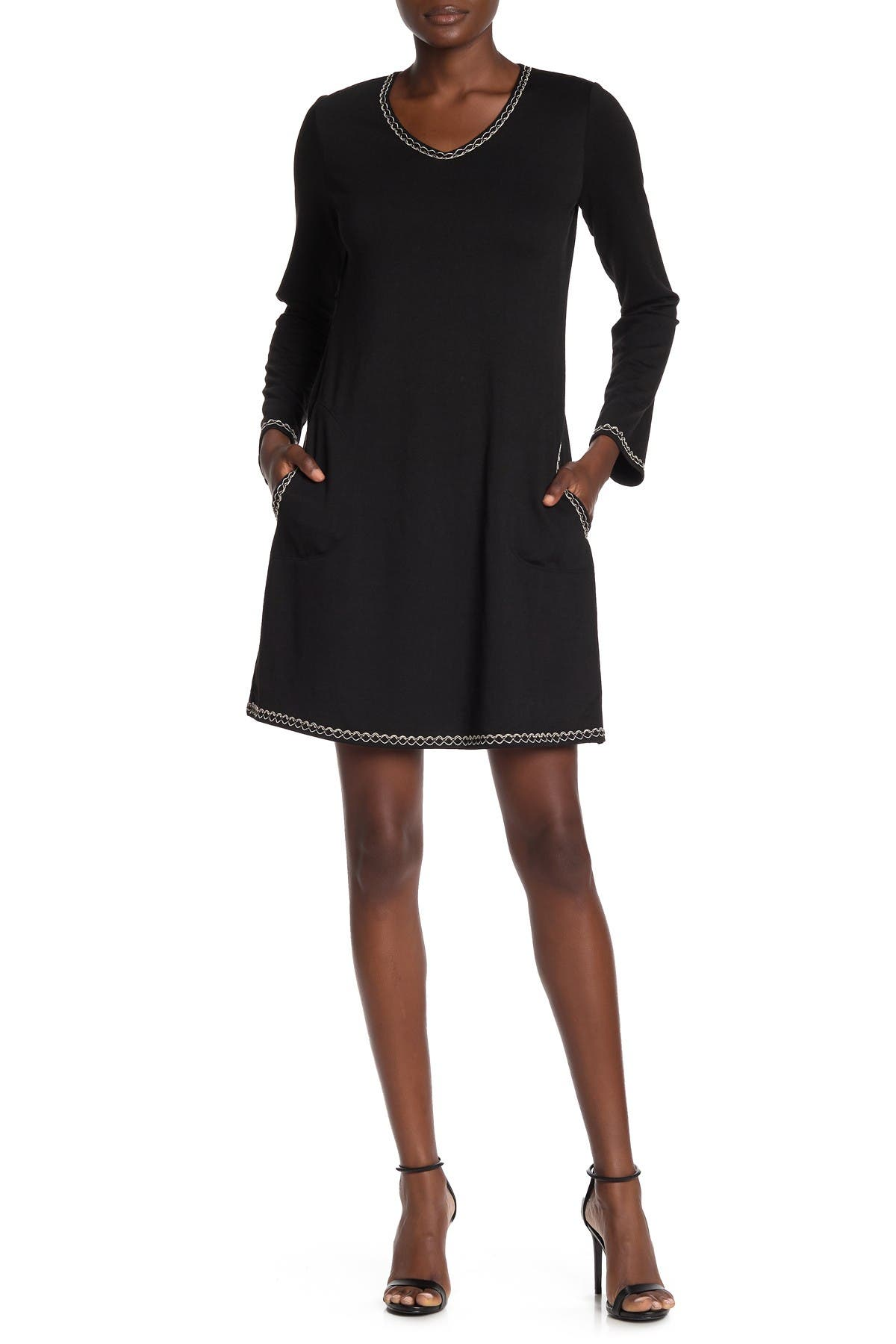 Image of Max Studio Topstitched Long Sleeve Sweater Dress