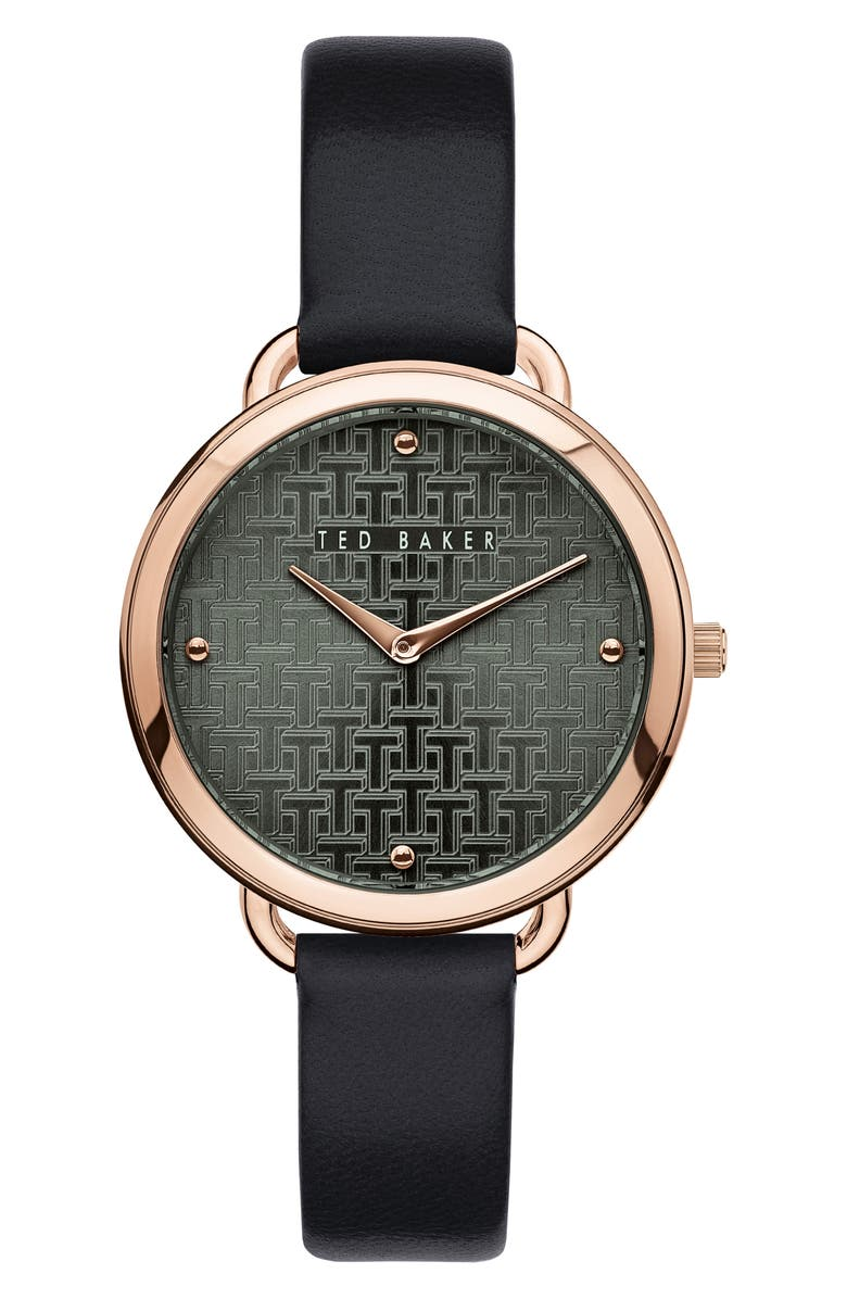 TED BAKER LONDON Hettie Leather Strap Watch, 37mm, Main, color, BLACK/ GREEN/ ROSE GOLD