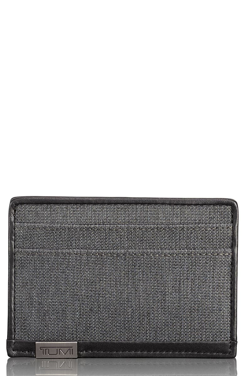 TUMI Alpha Card Case, Main, color, ANTHRACITE/ BLACK