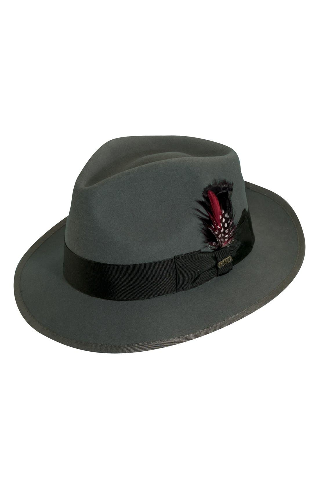 1940s Mens Hats | Fedora, Homburg, Porkpie Hats Mens Scala Classico Wool Felt Snap Brim Hat - Grey $51.00 AT vintagedancer.com