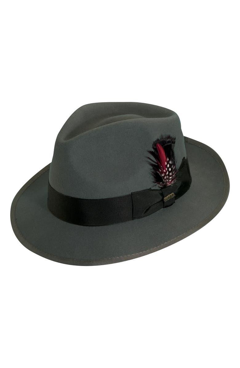 SCALA 'Classico' Wool Felt Snap Brim Hat, Main, color, GREY