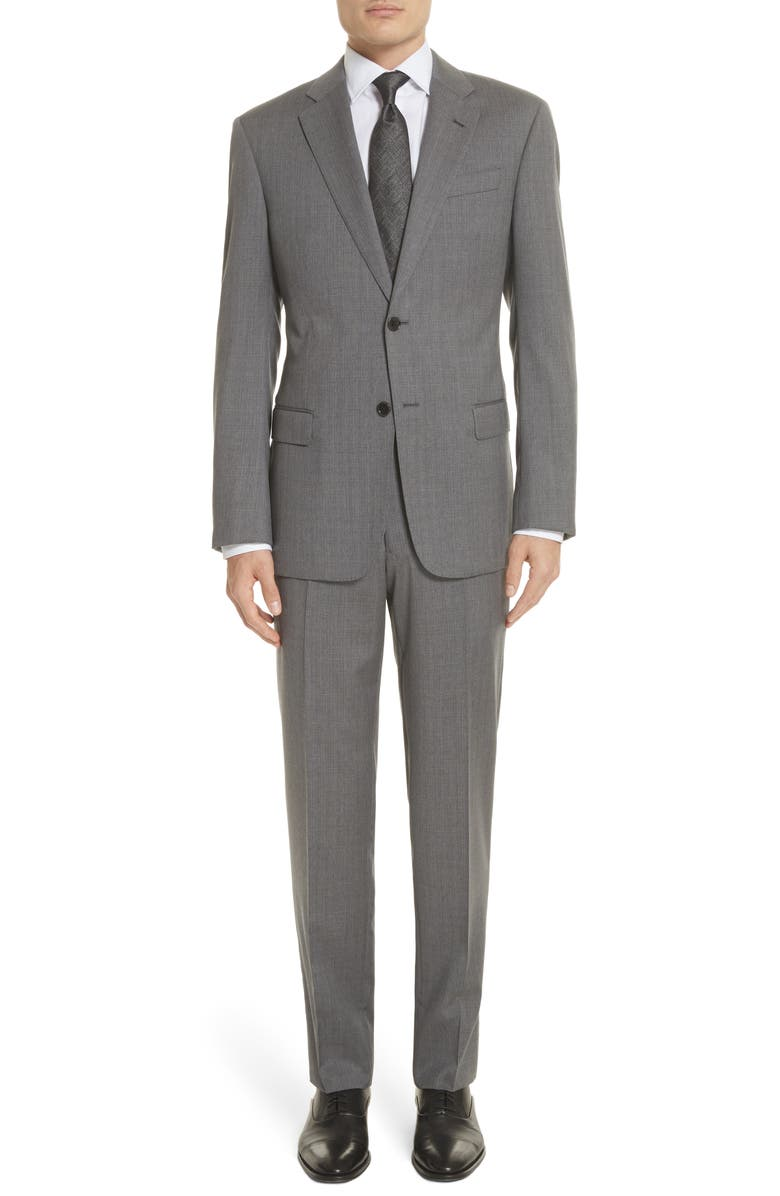 EMPORIO ARMANI Trim Fit Sharkskin Wool Suit, Main, color, LIGHT GREY