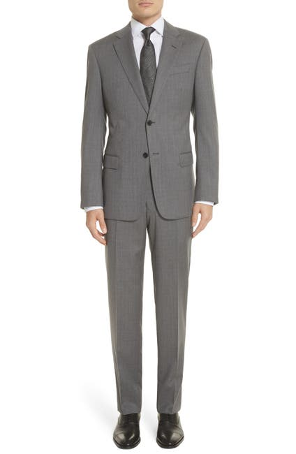 Image of Emporio Armani Trim Fit Sharkskin Wool Suit