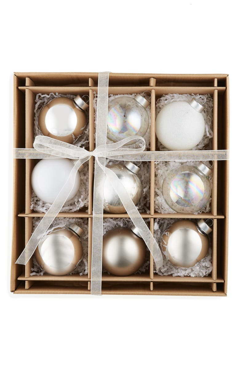 KAT + ANNIE Set of 9 Assorted Ball Ornaments, Main, color, SILVER MULTI