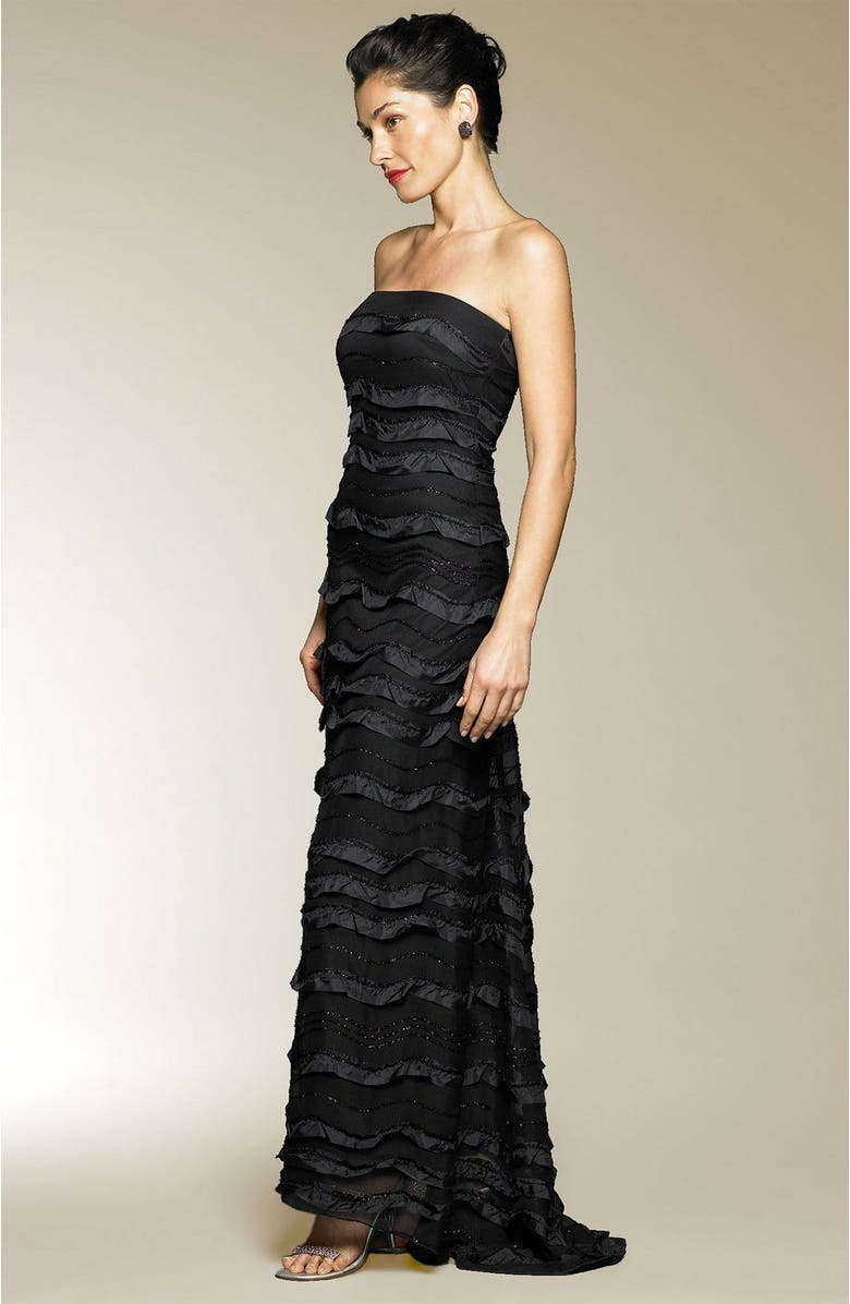 BARI JAY Long Strapless Gown with Ruffles, Main, color, BLK