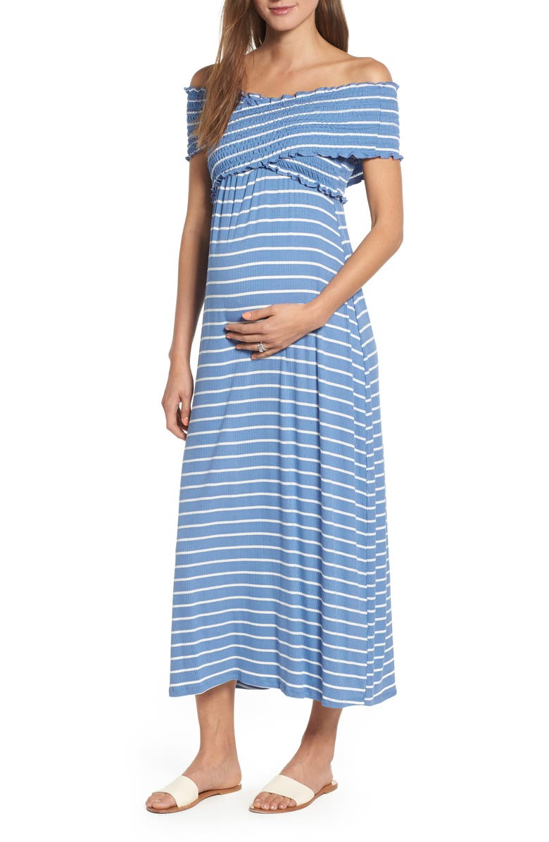 MATERNAL AMERICA Crisscross Off the Shoulder Maxi Maternity Dress, Main, color, INDIGO STRIPE