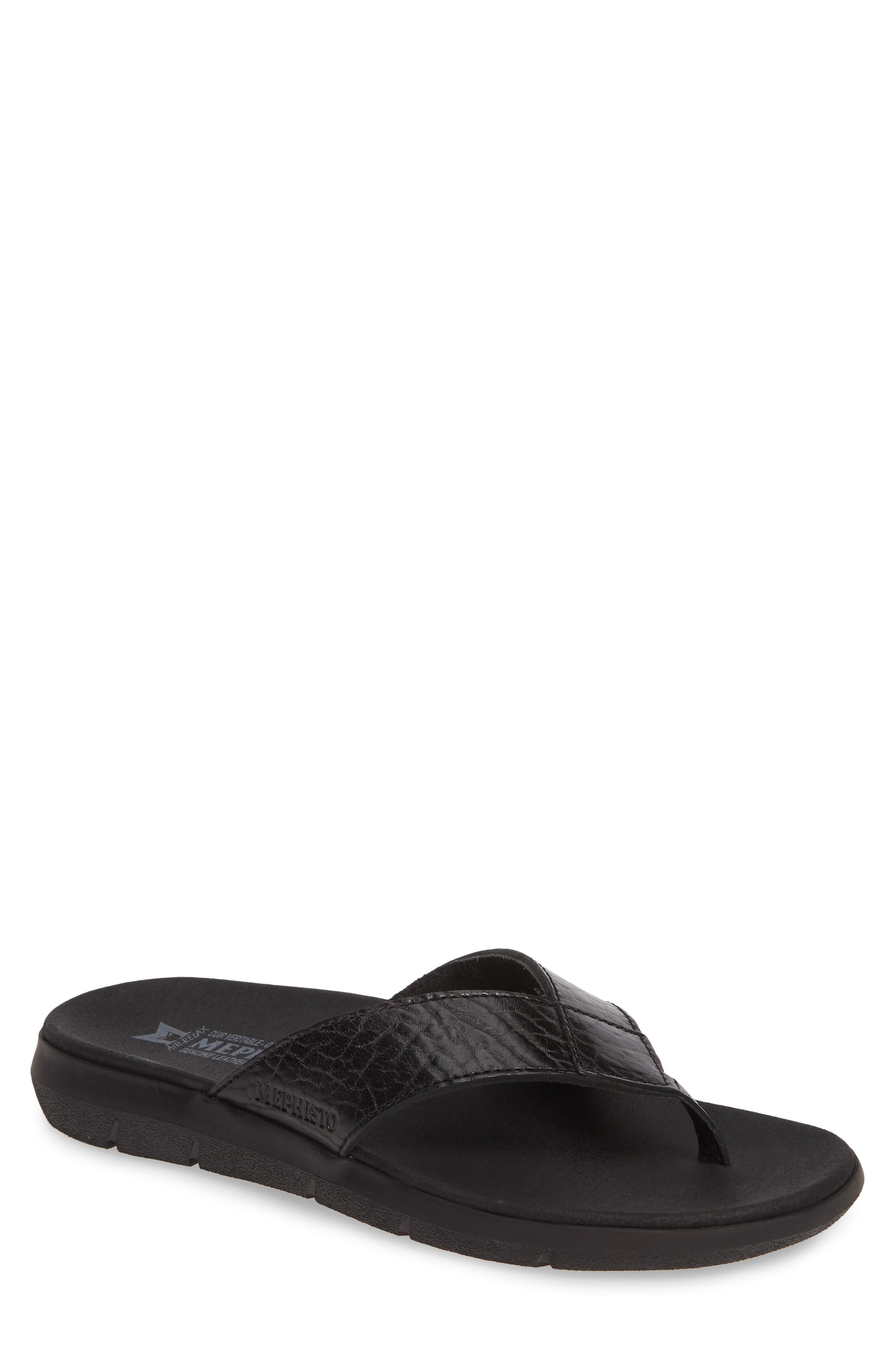 Charly Flip Flop, Main, color, BLACK LEATHER