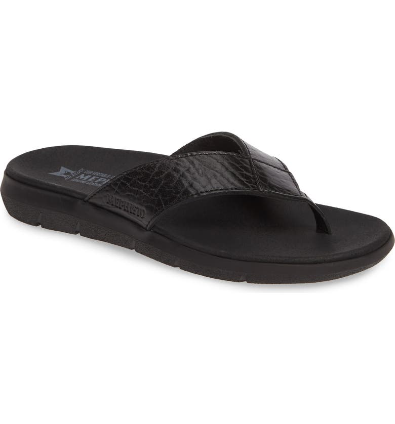 MEPHISTO Charly Flip Flop, Main, color, BLACK LEATHER