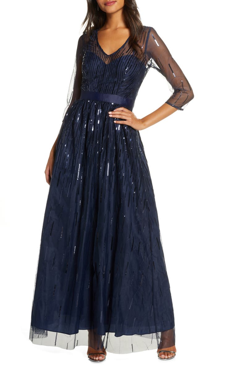 ELIZA J Sequined Illusion Mesh Evening Gown, Main, color, 410