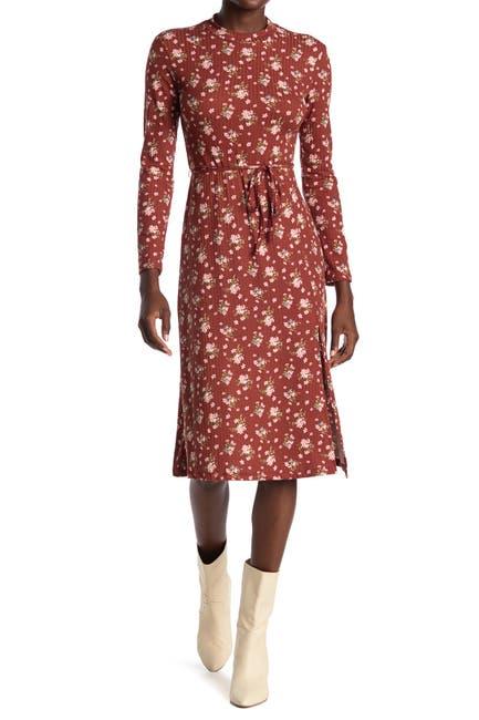 Image of Velvet Torch Long Sleeve Side Slit Midi Dress