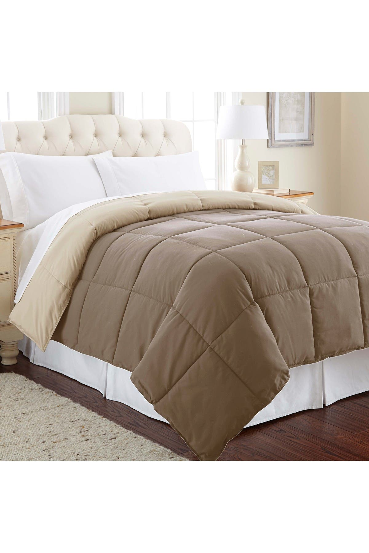 Image of Modern Threads King Down Alternative Reversible Comforter - Stone/Champagne