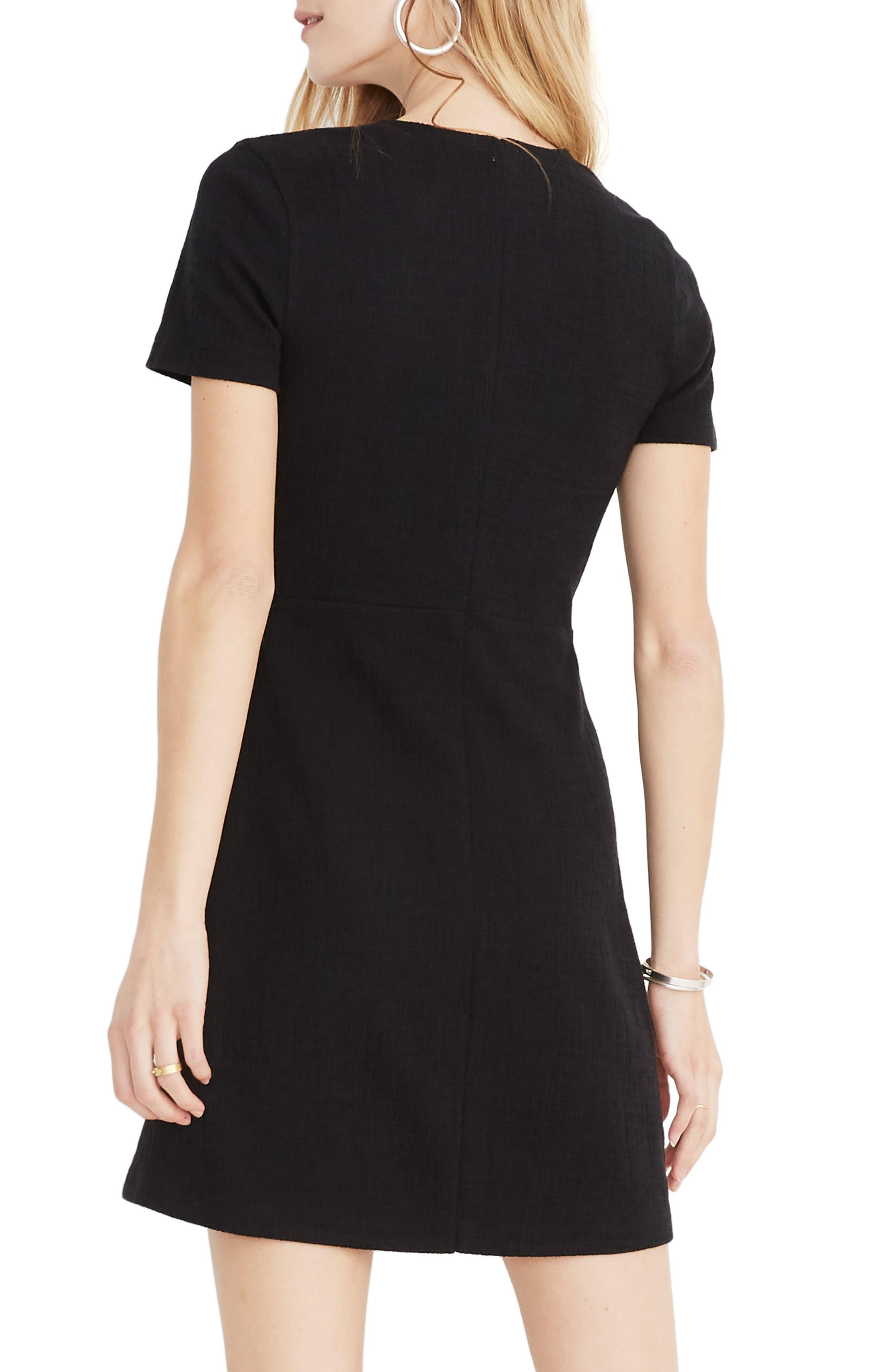 ,                             Texture & Thread Short Sleeve Side Tie Dress,                             Alternate thumbnail 2, color,                             TRUE BLACK