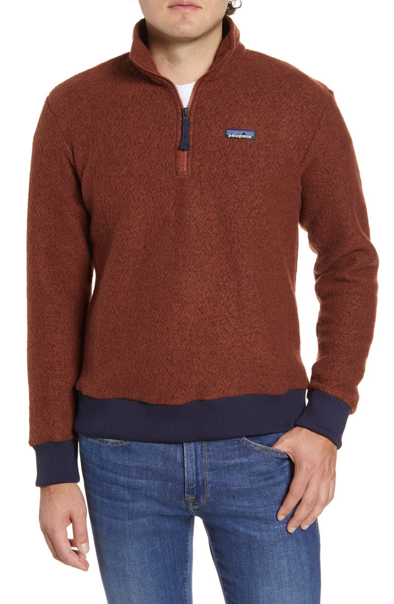 PATAGONIA Woolyester Fleece Quarter Zip Pullover, Main, color, SISU BROWN